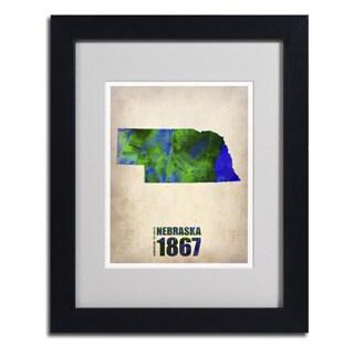 Naxart 'Nebraska Watercolor Map' Framed Matted Art