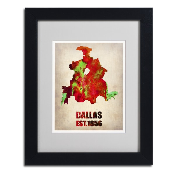 Naxart 'Dallas Watercolor Map' Framed Matted Art