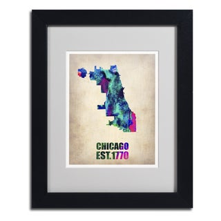 Naxart 'Chicago Watercolor Map' Framed Matted Art