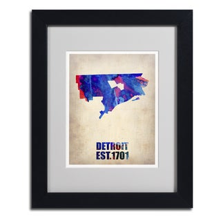 Naxart 'Detroit Watercolor Map' Framed Matted Art