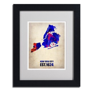 Naxart 'New York City Watercolor Map' Framed Matted Art