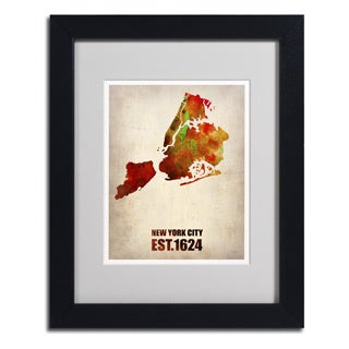 Naxart 'New York City Watercolor Map 2' Framed Matted Art