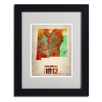 Naxart 'New Mexico Watercolor Map' Framed Matted Art
