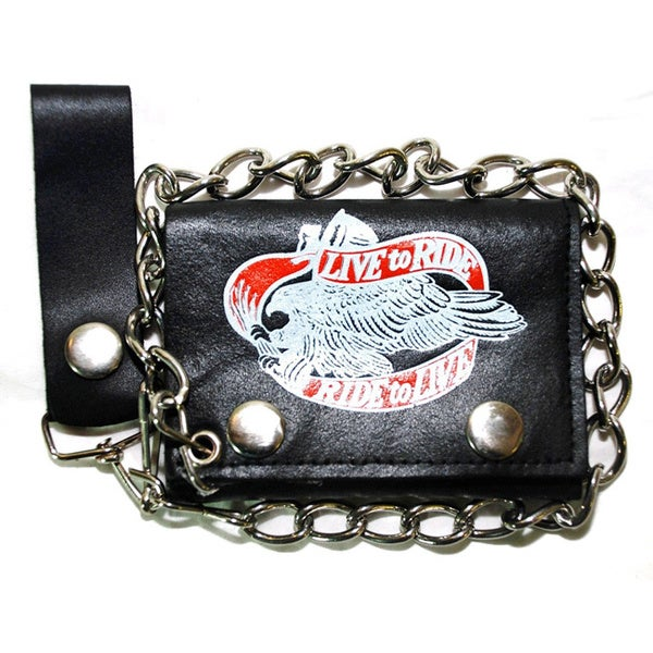 Hollywood Tag 'Live to Ride, Ride to Live' Leather Tri-fold Chain Wallet