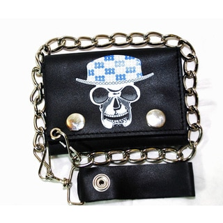 Hollywood Tag Skull with Hat Leather Tri-fold Chain Wallet