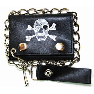 Hollywood Tag Pirate Skull with Bandana Leather Tri-fold Chain Wallet