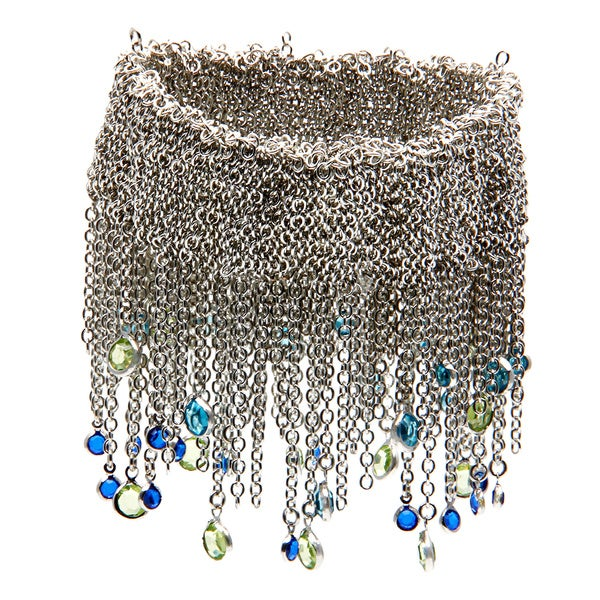ABS Blue and Green Bead Chain Stretch Bracelet