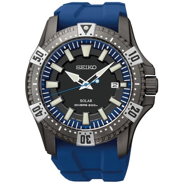 517e7f0d4 Shop SEIKO Men s Solar Gray Dial Blue Rubber Diver s Watch - Free Shipping  Today - Overstock - 8359310