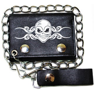 Hollywood Tag Skull Tattoo Printed Leather Tri-fold Chain Wallet