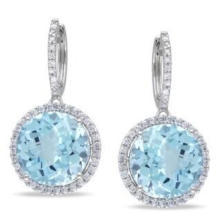 Miadora 14k White Gold Blue Topaz 1/2ct TDW Diamond Earrings (G-H, I1-I2)