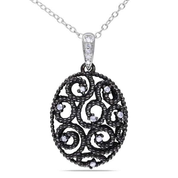 286ca341c8ee0 Shop Miadora Sterling Silver 1/10ct TDW Diamond Necklace - Free ...