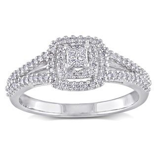 Miadora Sterling Silver 2/5ct TDW Diamond Engagement Ring