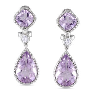 Miadora Silver Rose de France and Created White Sapphire Chandelier Earrings