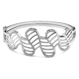 Miadora Sterling Silver Cubic Zirconia Bangle Bracelet
