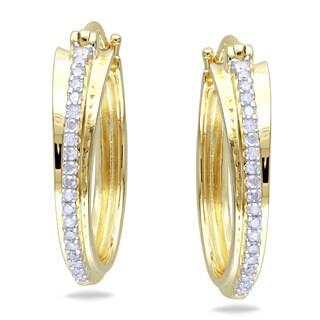 Miadora Yellowplated Silver 1/5ct TDW Diamond Hoop Earrings