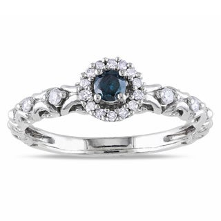 Miadora Sterling Silver 1/4ct TDW Blue and White Diamond Halo Ring