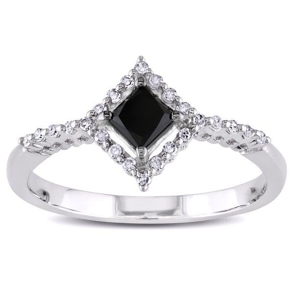 Miadora 10k White Gold 1/2ct TDW Princess-cut Black and White Diamond Ring (H-I, I2-I3)