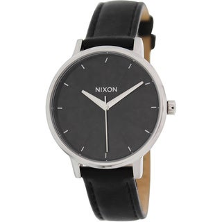 Nixon Women's Kensington Black Leather and Black Dial Quartz Watch