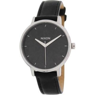 Nixon Women's Kensington Black Leather and Black Dial Quartz Watch