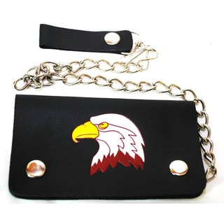 Hollywood Tag Bald Eagle Leather Bi-fold Chain Wallet