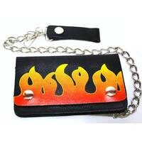 Hollywood Tag Red Flames Leather Bi-fold Chain Wallet