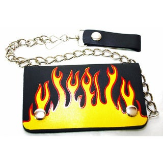 Hollywood Tag Yellow Flames Print Leather Bi-fold Chain Wallet