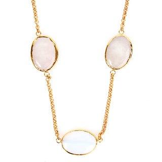 ELYA Goldplated Moonstone and Rose Quartz Necklace