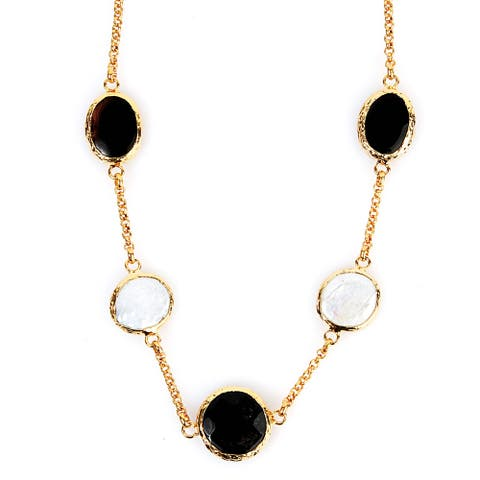 ELYA Goldplated Mother of Pearl and Onyx Necklace
