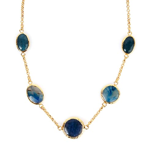 ELYA Goldplated Green and Blue Dyed Chalcedony Necklace
