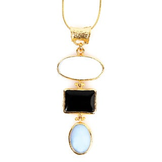 ELYA Goldplated Onyx, Moonstone and Mother of Pearl Necklace