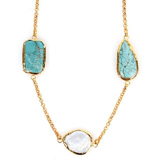 ELYA Goldplated Mother of Pearl and Compressed Turquoise Necklace