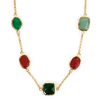 ELYA Goldplated Green and Red Dyed Chalcedony Necklace
