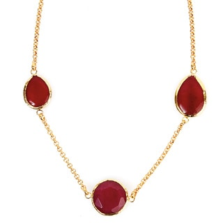 ELYA Goldplated Red Dyed Chalcedony Necklace