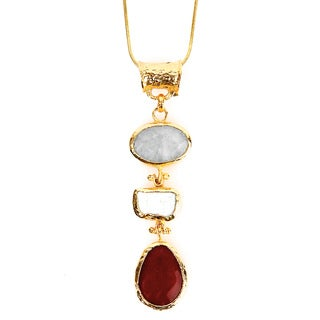ELYA Goldplated Mother of Pearl and Dyed Chalcedony Tiered Necklace