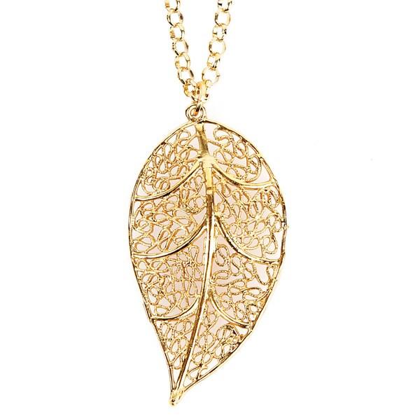 ELYA Goldplated Leaf Filigree Necklace