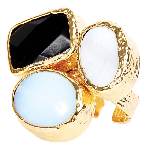 ELYA Gold Plated Onyx, Moonstone and Mother of Pearl Ring - Yellow