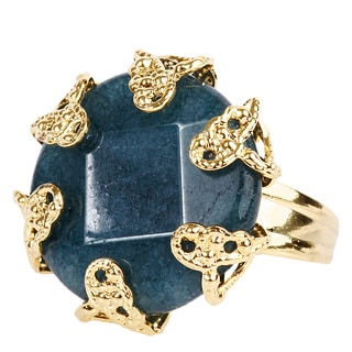 ELYA Goldplated Blue Dyed Chalcedony Antiqued Adjustable Ring