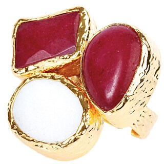 ELYA Goldplated Dyed Red Chalcedony and Mother of Pearl Ring