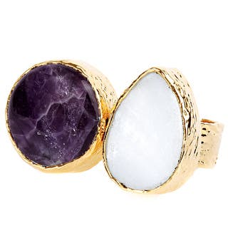 ELYA Goldplated Amethyst and Mother of Pearl Adjustable Ring|https://ak1.ostkcdn.com/images/products/8359512/ELYA-Goldplated-Amethyst-and-Mother-of-Pearl-Adjustable-Ring-P15667307.jpg?impolicy=medium