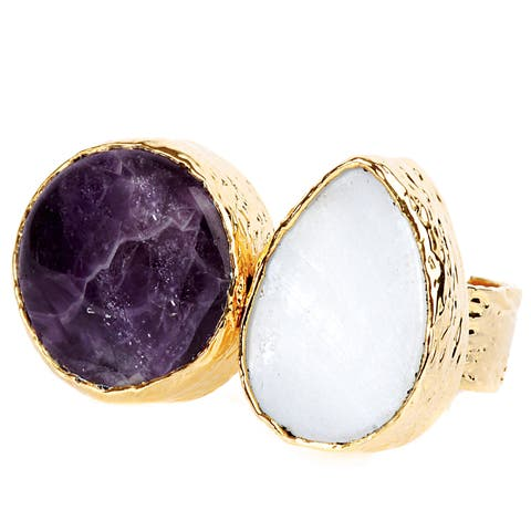 ELYA Gold Plated Amethyst and Mother of Pearl Adjustable Ring - Yellow