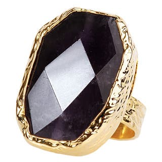ELYA Goldplated Amethyst Adjustable Ring|https://ak1.ostkcdn.com/images/products/8359513/ELYA-Goldplated-Amethyst-Adjustable-Ring-P15667308.jpg?impolicy=medium