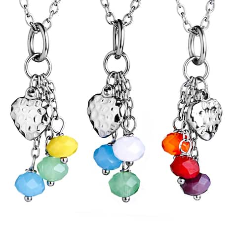 ELYA Stainless Steel Colored Resin Bead Dangle Charm Necklace