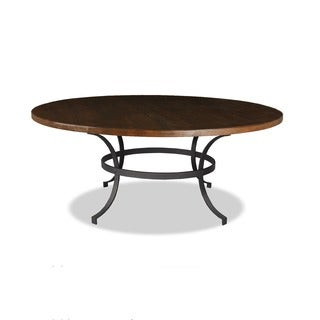'Tahoe' Wrought Iron Reclaimed Wood Round Dining Table
