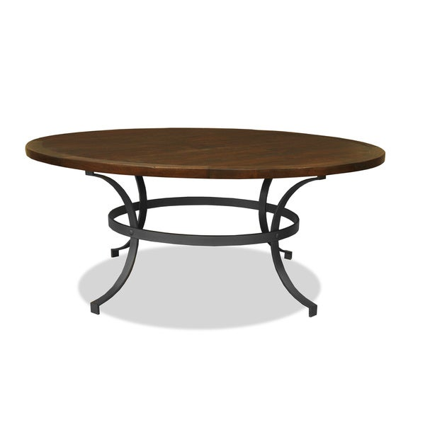 Tahoe Wrought Iron Reclaimed Wood Round Dining Table - Free