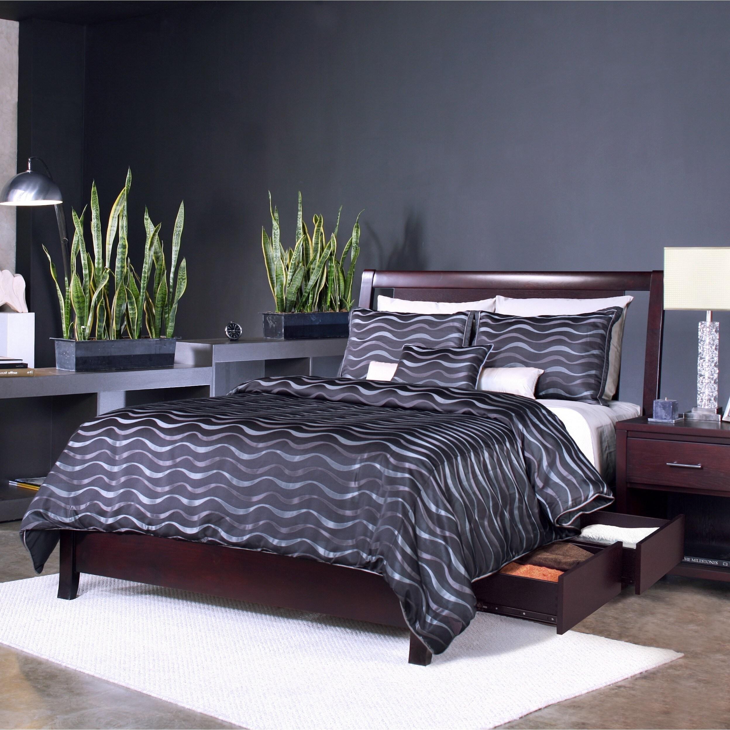 Espresso Floating Panel Low Profile Storage Bed