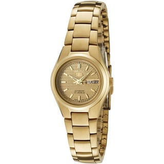 Seiko Women's 5 Automatic Gold Steel and Gold Dial Automatic Watch