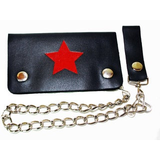 Hollywood Tag Red Star Leather Bi-fold Chain Wallet