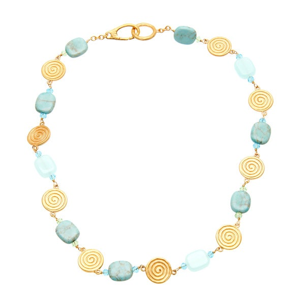 Ralph Lauren Goldtone Reconstituted Turquoise, Crystal and Quartz Necklace