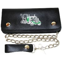 Hollywood Tag Truck Print Leather Bi-fold Chain Wallet