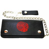 American Indian Black Leather Bi-fold Chain Wallet